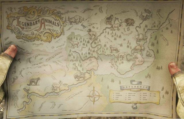 Карта с легендарными животными Red Dead Redemption 2